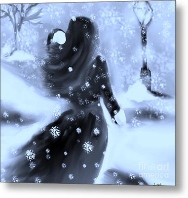 Metal Print featuring the drawing A Winters Walk by Lori  Lovetere
