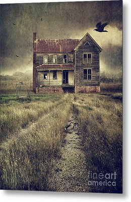 Abandoned Eerie Farmhouse With Dark Clouds Metal Print by Sandra Cunningham