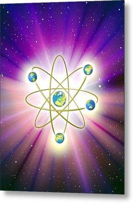 Abstract Artwork Of Earth Arranged As An Atom Metal Print by Mehau Kulyk