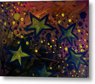 Metal Print featuring the painting Abstract Stars by Monica Furlow