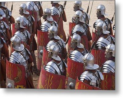 Actors Re-enact A Roman Legionaries Metal Print by Taylor S. Kennedy