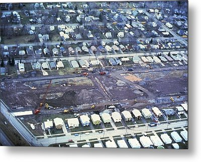 Aerial View Of Clean Up Operations Metal Print by Everett