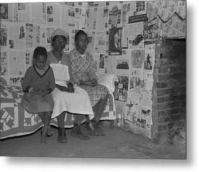 African American Mother With Her Two Metal Print by Everett