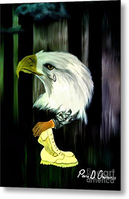 Metal Print featuring the painting American Eagle Cries by Ayasha Loya