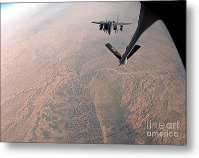 An F-15e Strike Eagle Is Refueled Metal Print by Stocktrek Images