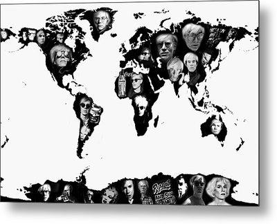 Andy Warhol World Map Metal Print by Stephen Walker