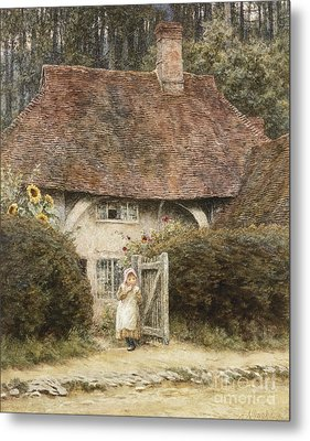 At The Cottage Gate Metal Print by Helen Allingham