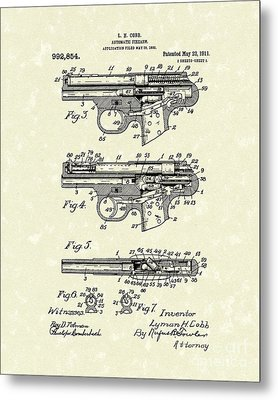 Automatic Firearm 1911 Patent Art Metal Print by Prior Art Design