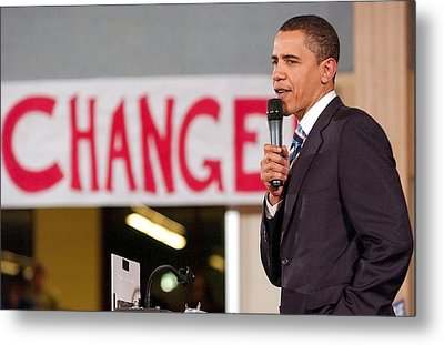 Barack Obama On Stage For Barack Obama Metal Print