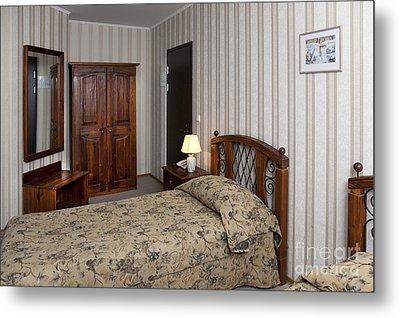 Beds In Hotel Room Metal Print by Jaak Nilson