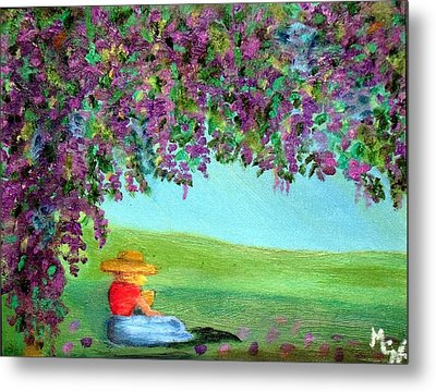 Metal Print featuring the painting Beyond The Arbor by Margaret Harmon