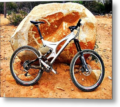 Bicycle Of Decrease In Mountains Metal Print by Jenny Senra Pampin