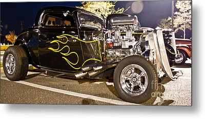 Black Hot Rod Big Engine Metal Print by Pictures HDR