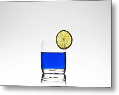 Blue Cocktail With Lemon Metal Print by Joana Kruse