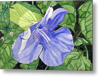 Metal Print featuring the painting Blue Sky Vine by Debi Singer