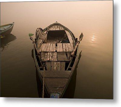 Boat In The Water, Varanasi, India Metal Print by Keith Levit