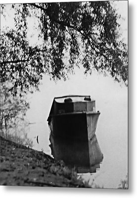 Boat On Foggy Rhine Metal Print