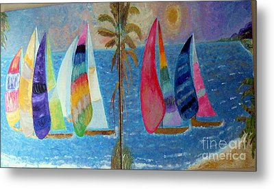 Boats At Sunset Metal Print by Vicky Tarcau