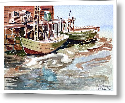 Boats At The Pier Metal Print