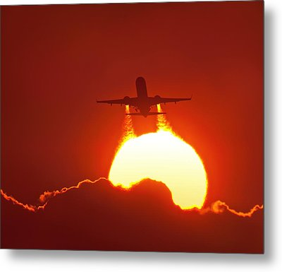 Boeing 737 Taking Off At Sunset Metal Print