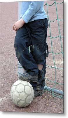 Boy With Soccer Ball Metal Print by Matthias Hauser
