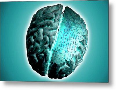 Brain With Circuit Board Metal Print by MedicalRF.com