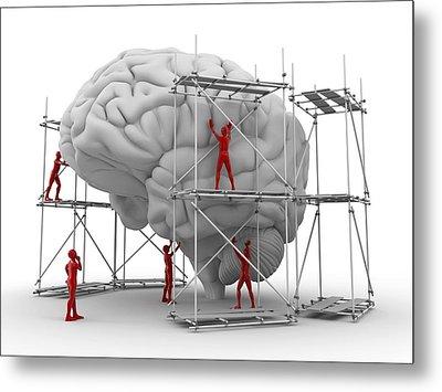 Brain With Workers, Mental Health Metal Print by Pasieka