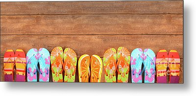 Brightly Colored Flip-flops On Wood  Metal Print by Sandra Cunningham