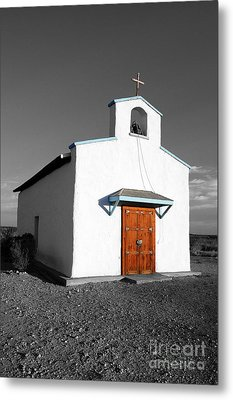 Calera Mission Chapel In West Texas Color Splash Black And White Metal Print by Shawn O'Brien