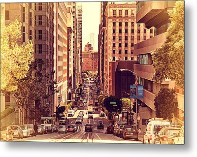 California Street In San Francisco Metal Print by Wingsdomain Art and Photography