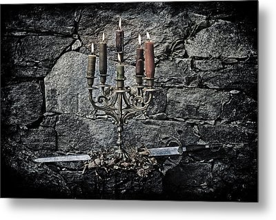 Candle Holder And Sword Metal Print by Joana Kruse