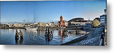 Cardiff Bay Panorama Metal Print by Steve Purnell