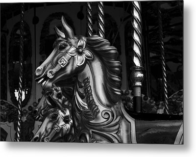 Metal Print featuring the photograph Carousel Horses Mono by Steve Purnell
