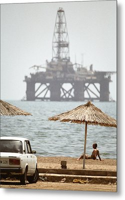 Caspian Sea Oil Rig Metal Print by Ria Novosti