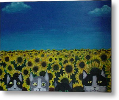Cats And Sunflowers Metal Print