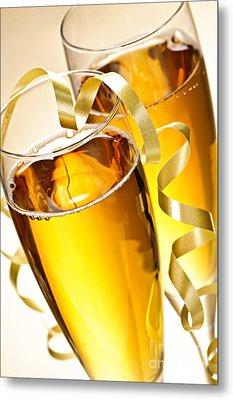Champagne Glasses Metal Print by Elena Elisseeva