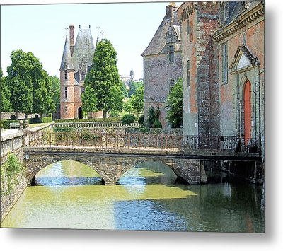 Metal Print featuring the drawing Chateu Carrouges Normandy France by Joseph Hendrix
