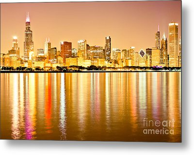 Chicago Skyline At Night Photo Metal Print by Paul Velgos