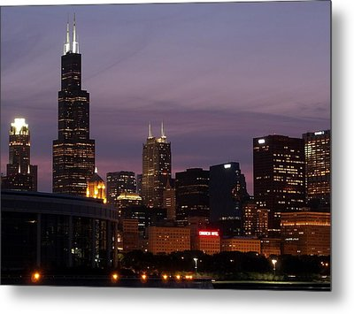 Chicago With A Purple Sky Metal Print by Dan Susek