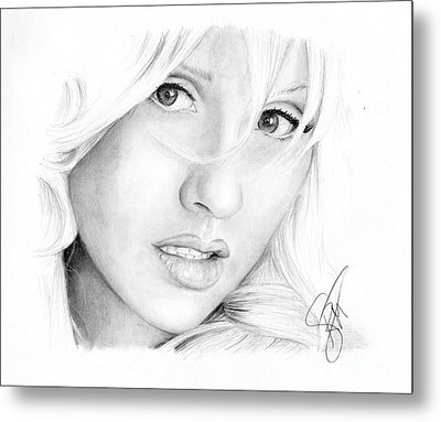 Christina Aguilera Metal Print by Rosalinda Markle