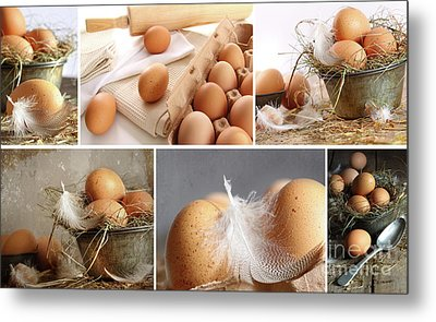 Collage Of Brown Eggs Images  Metal Print by Sandra Cunningham