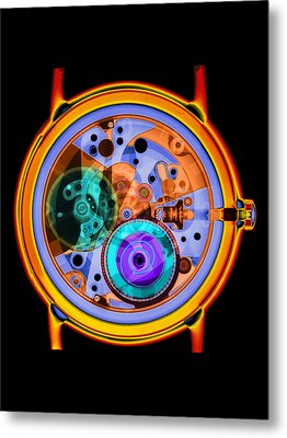 Coloured X-ray Of A 17-jewel Wrist-watch Metal Print by D. Roberts