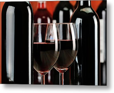 Composition With Glasses And Bottles Of Wine Metal Print by T Monticello