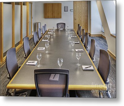 Conference Table And Chairs Metal Print by Andersen Ross
