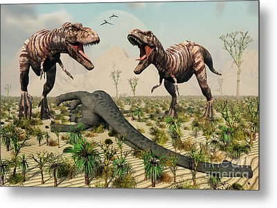 Confrontation Between A Pair Of T. Rex Metal Print by Mark Stevenson