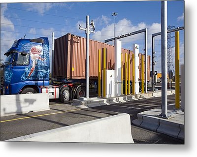 Container Port Security Metal Print
