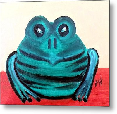 Metal Print featuring the painting Contented Male Frog by Margaret Harmon