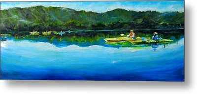 Conversation At Spring Lake Metal Print by Terrence  Howell