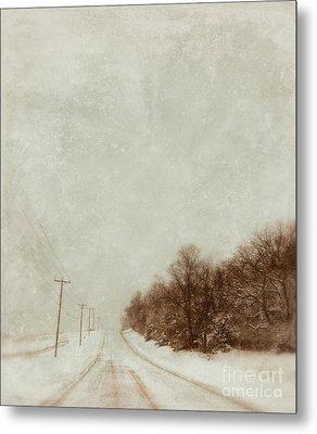 Country Road In Snow Metal Print by Jill Battaglia