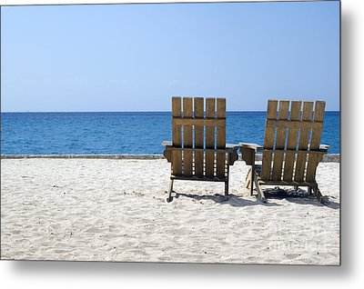 Metal Print featuring the photograph Cozumel Mexico Beach Chairs And Blue Skies by Shawn O'Brien